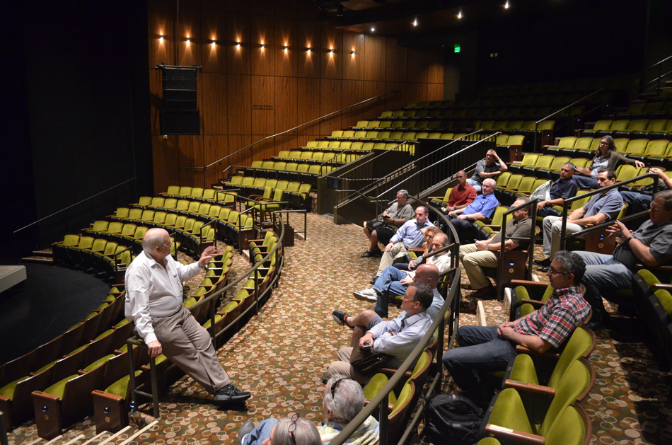 ASTC Members listen as Tom Folsom discusses his involvement in the renovation of the Mark Taper Forum in Los Angeles.  ASTC Forum 2014.