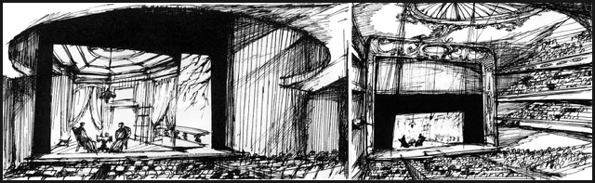 Renowned set designer Ming Cho Lee sketched a comparison of a small scene viewed from two different theatres.  On the left, the actors in a dramatic setting will be easy to see and their facial expressions can be discerned; on the right, the actors are dwarfed by a larger auditorium which might be more appropriate for grand opera.