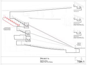 Project A: Red lines show the effect of raising the railing in the upper balcony tiers.