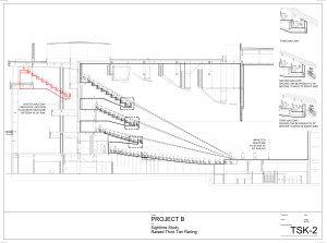 Project B: Red lines show the effect of raising the railing in the upper balcony tiers.