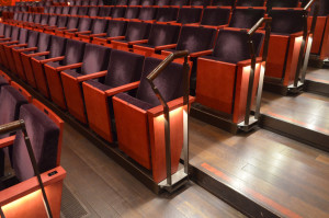 "H-E-B Performance Hall in Tobin Center in San Antonio – view of seats in audience position.  Note the row of seats on a ""platform"" as part of the adjustable system.  Each row is an individual lift.  Photo by Paul Sanow ASTC."