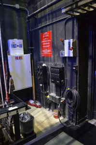 It's often difficult to fit in a hose cabinet backstage.  Life Safety Code (2018) no longer includes the requirement on stages. Photo by Paul Sanow ASTC